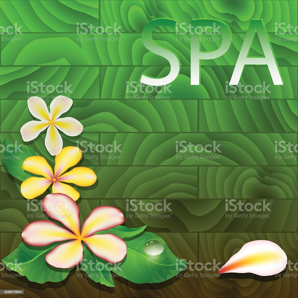 Vector illustration with exotic leaves, flowers  and drop. vector art illustration