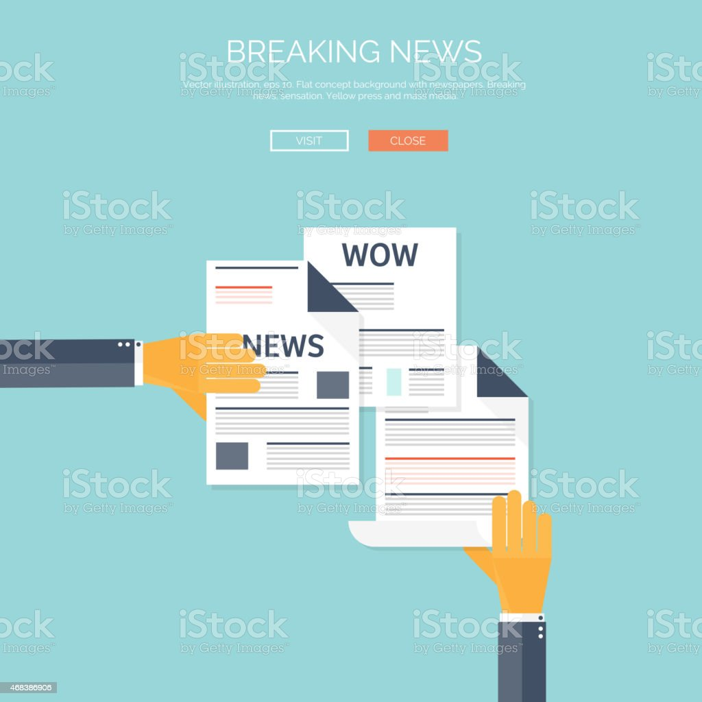 Vector illustration with flat newspapers. News and mass media concept vector art illustration