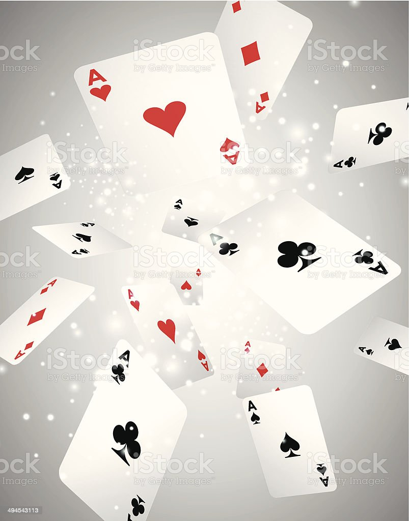 Vector Illustration with flying playing cards vector art illustration
