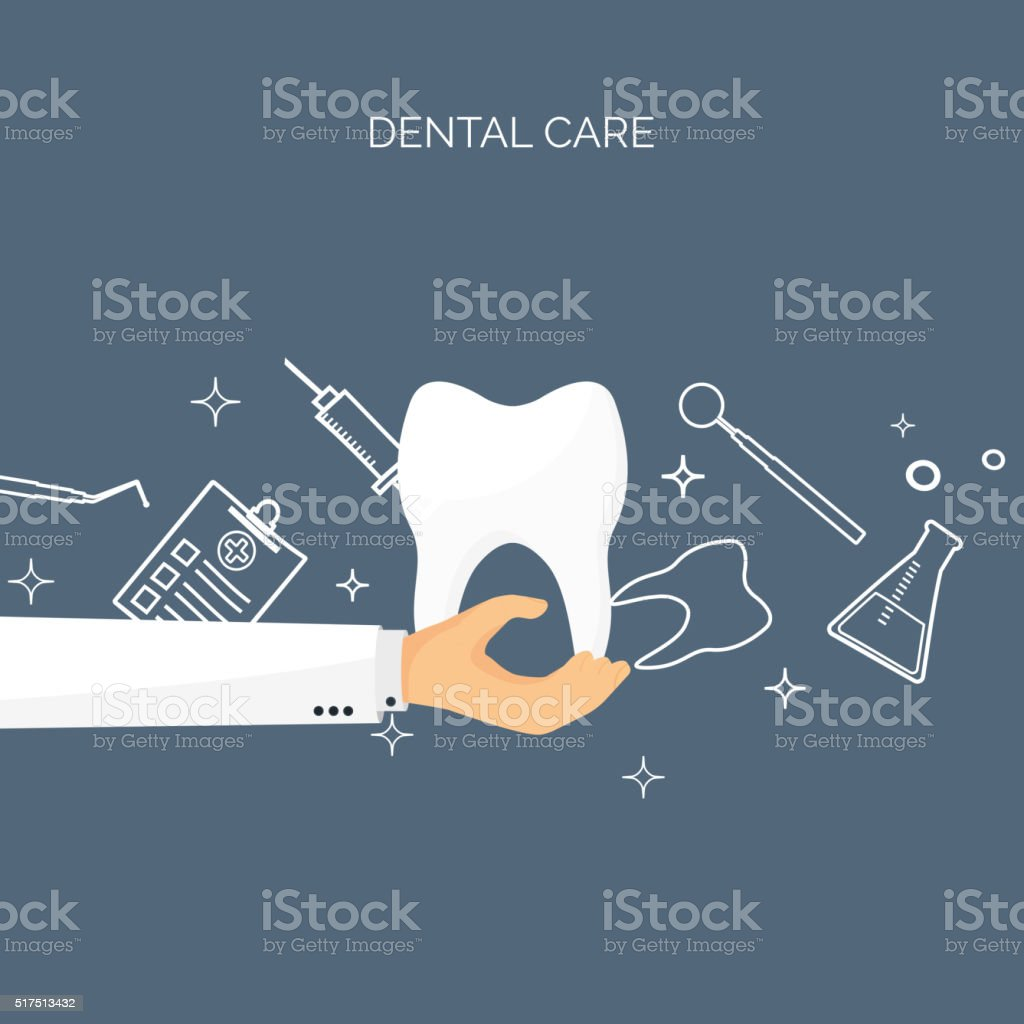 Vector illustration with hand and tooth. Flat health care, medical vector art illustration