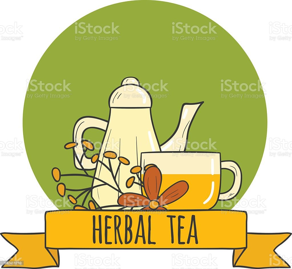 Vector illustration with herbal tea and cup vector art illustration