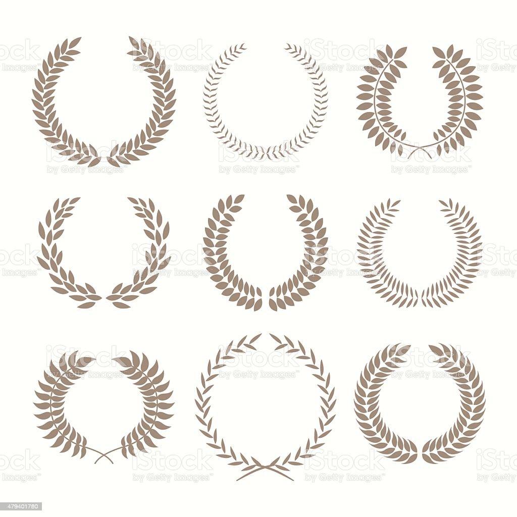 Vector illustration with laurel wreaths on white background. vector art illustration
