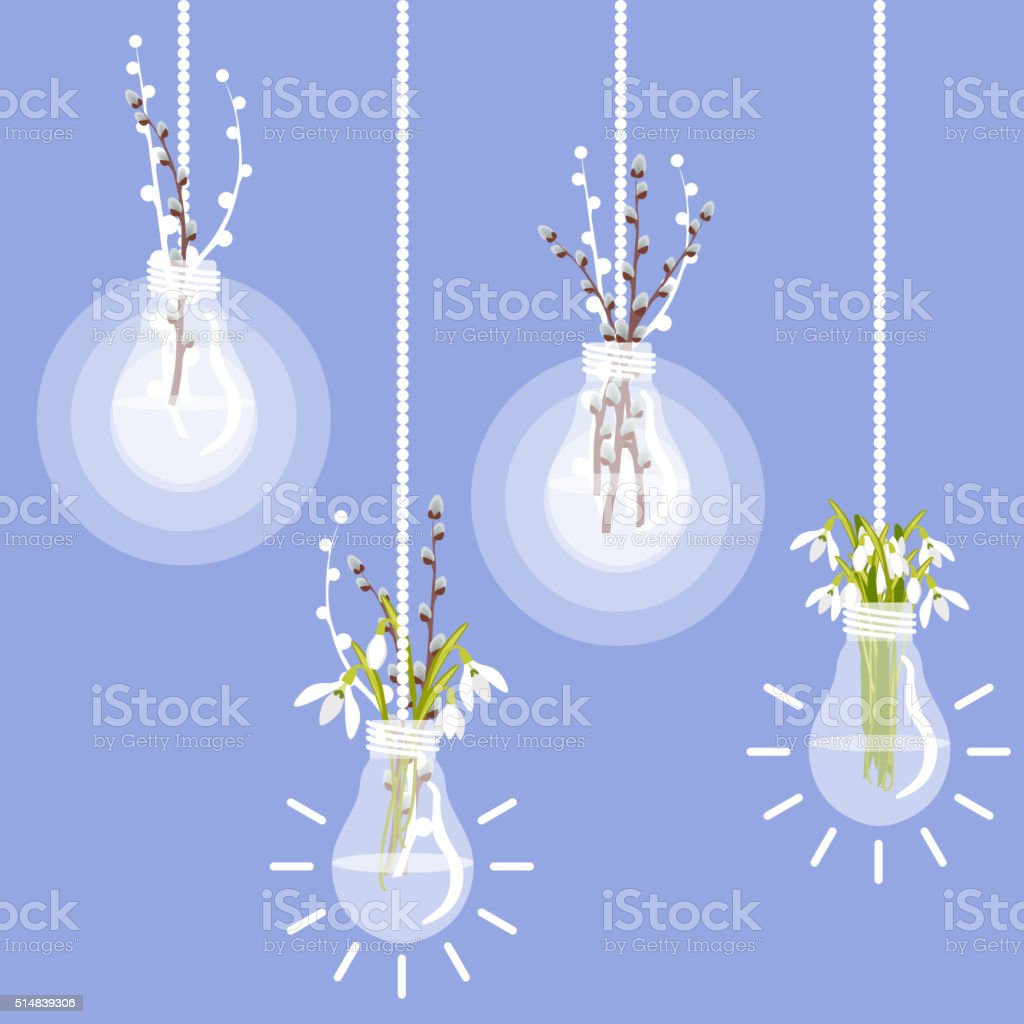 Vector illustration with lightbulb, pussy willow and snowdrops vector art illustration