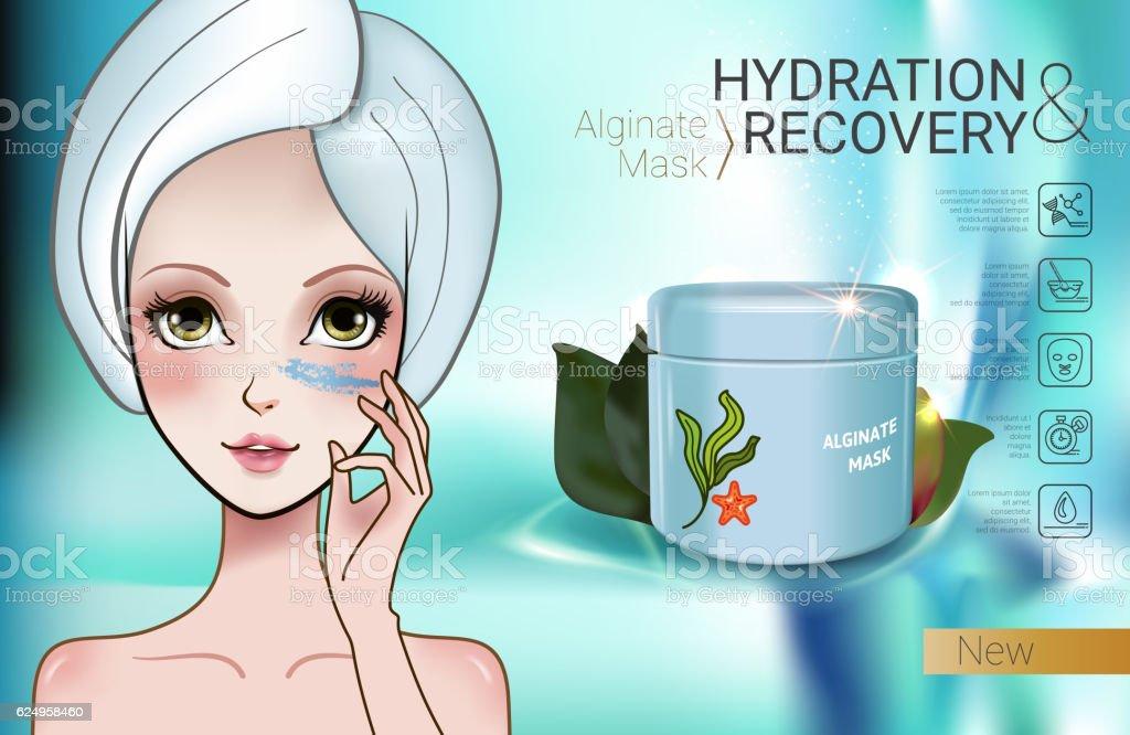 Vector Illustration with Manga style girl and Alginate Mask vector art illustration