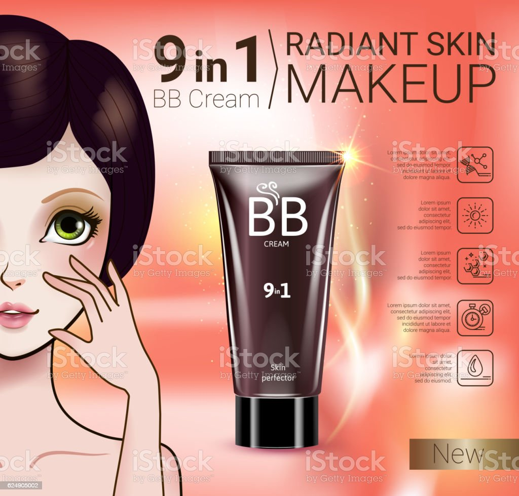 Vector Illustration with Manga style girl and makeup foundation tube. vector art illustration
