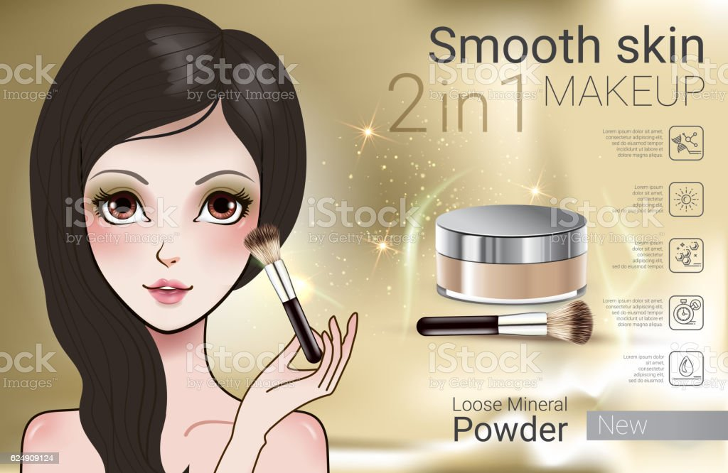 Vector Illustration with Manga style girl and makeup loose powder. vector art illustration