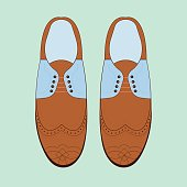 Vector illustration with men fashion shoes.