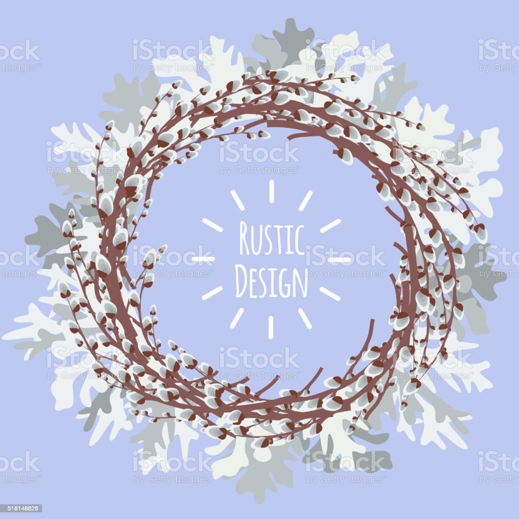 Vector illustration with pussy willow wreath and dusty miller vector art illustration