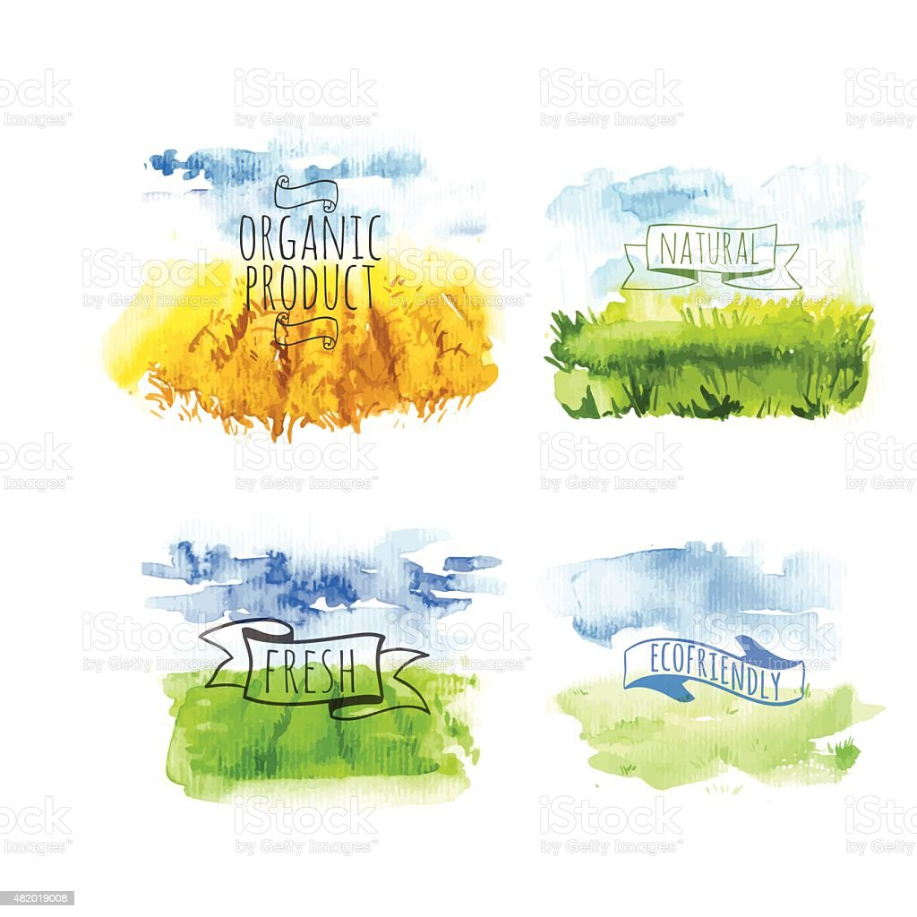 Vector illustration with set of beautiful spring landscape field vector art illustration