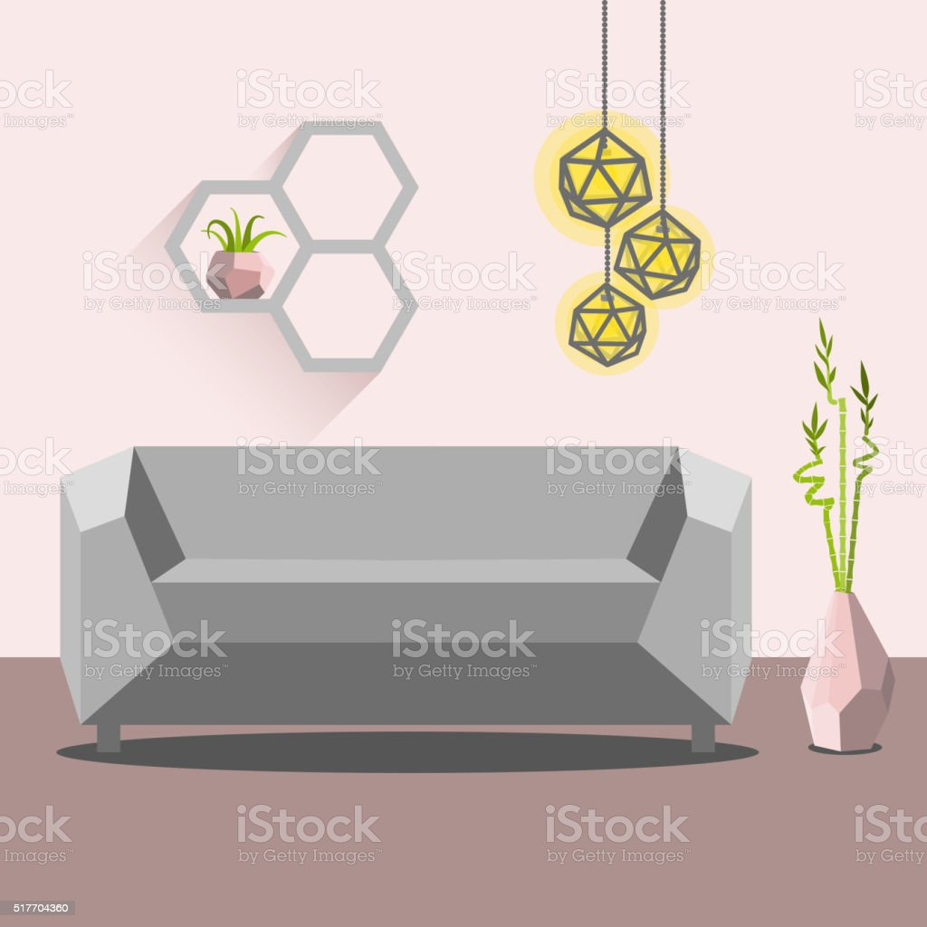 Vector illustration with sofa, luminaire and bamboo vector art illustration
