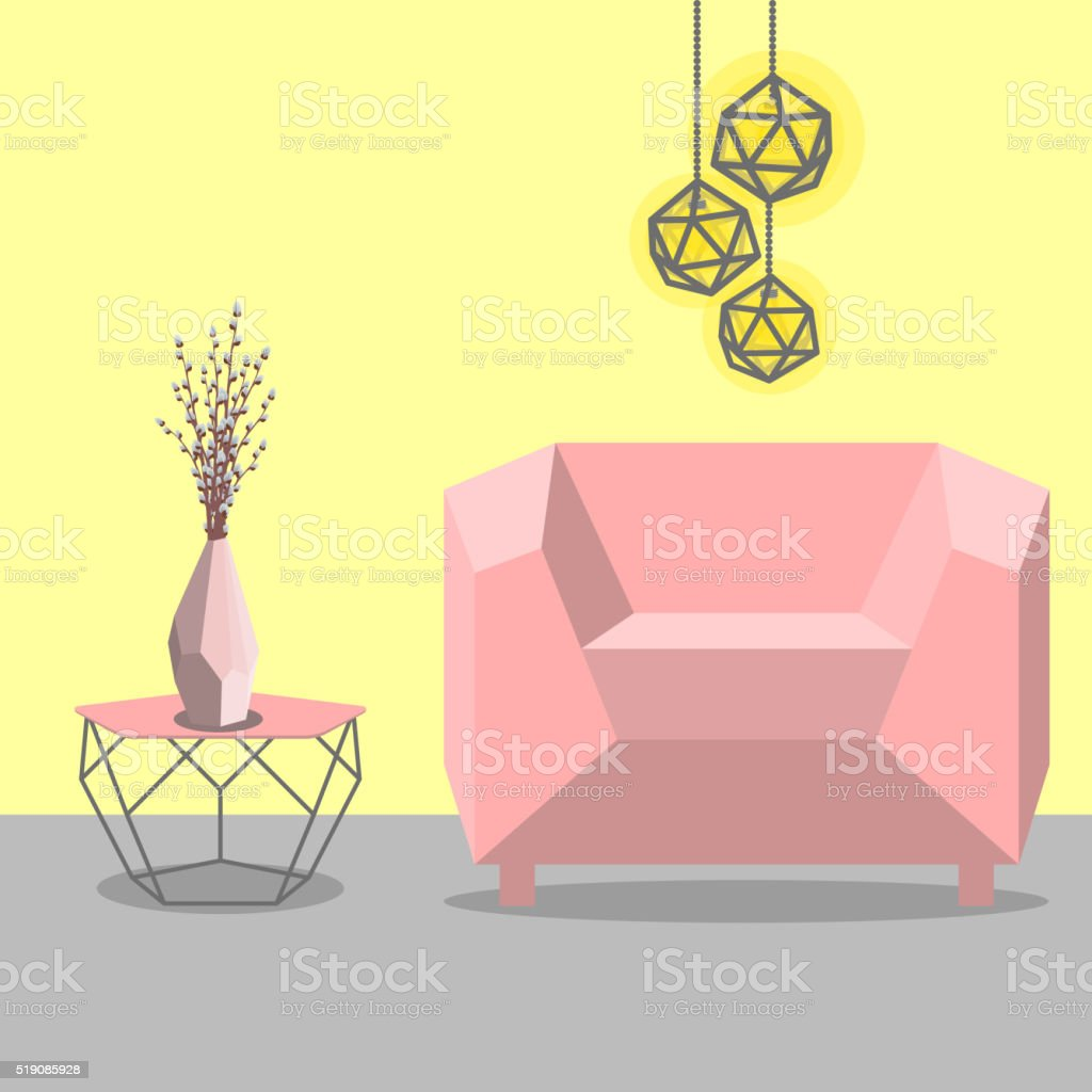 Vector illustration with sofa, luminaire and table vector art illustration