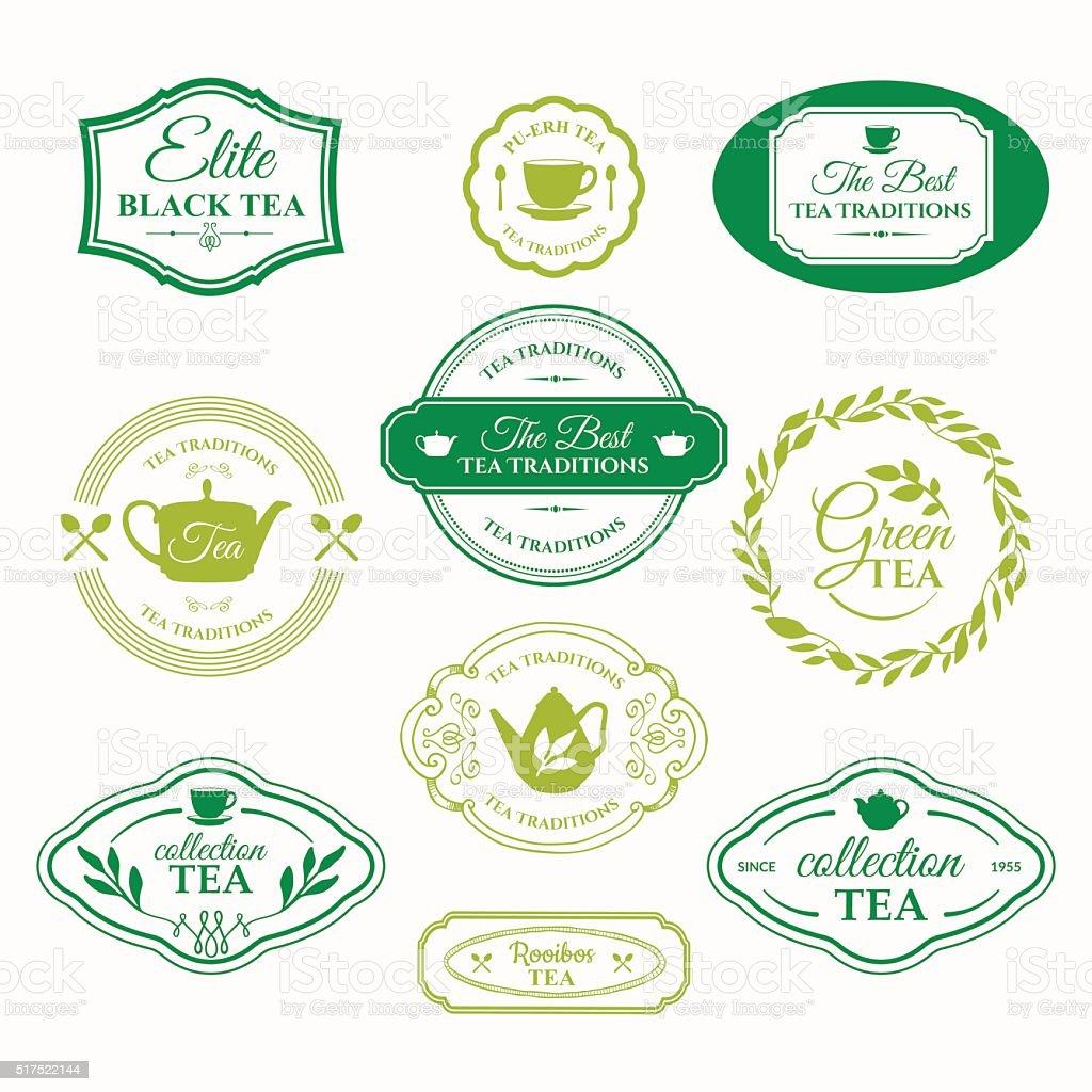 Vector Illustration with tea logo on white background. vector art illustration
