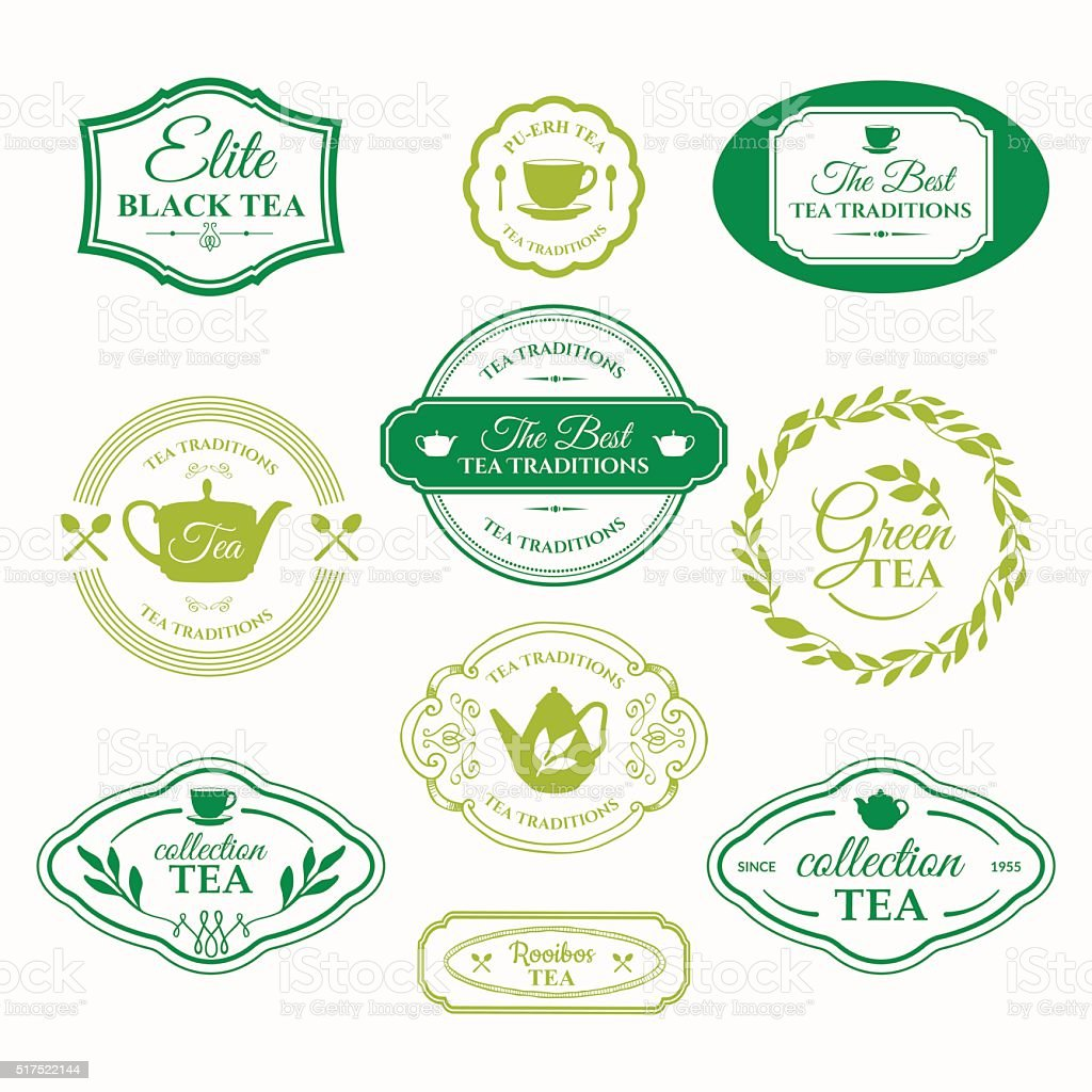 Vector Illustration with tea logo on white background. vector art illustration