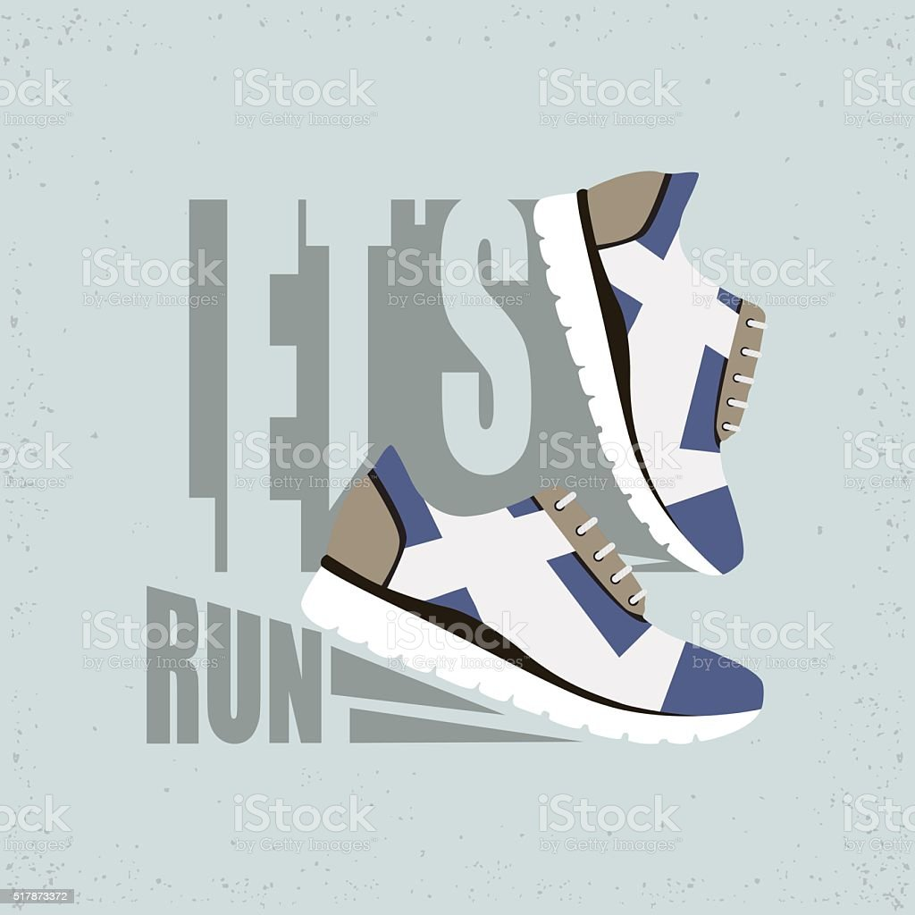 Vector illustration with text Let's run. Running shoes with shadow. vector art illustration