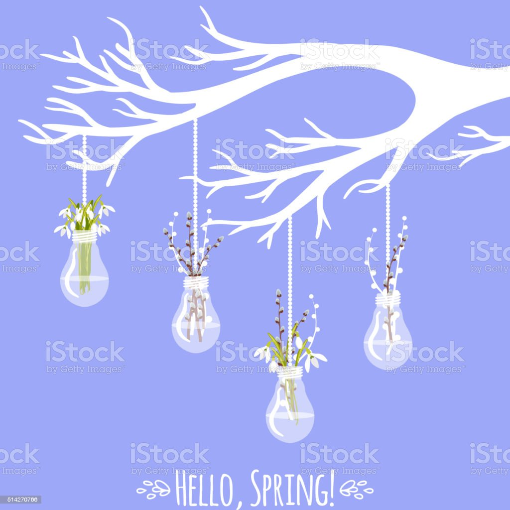 Vector illustration with tree branch, bulb, pussy willow and snowdrops vector art illustration