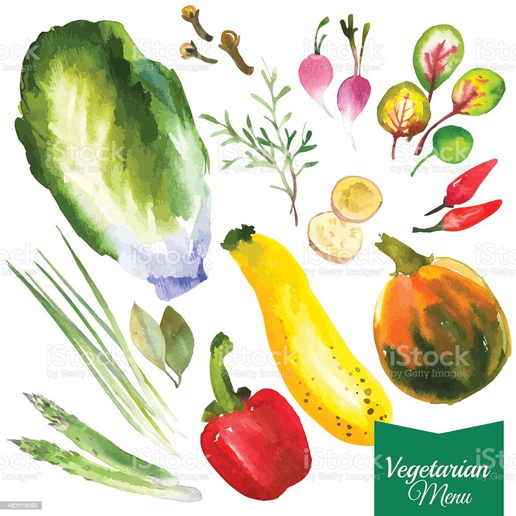 Vector Illustration with watercolor food. vector art illustration