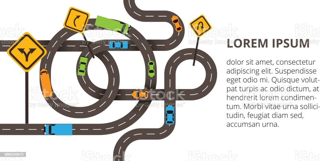 Vector illustration with winding roads and a lot of cars, trucks vector art illustration