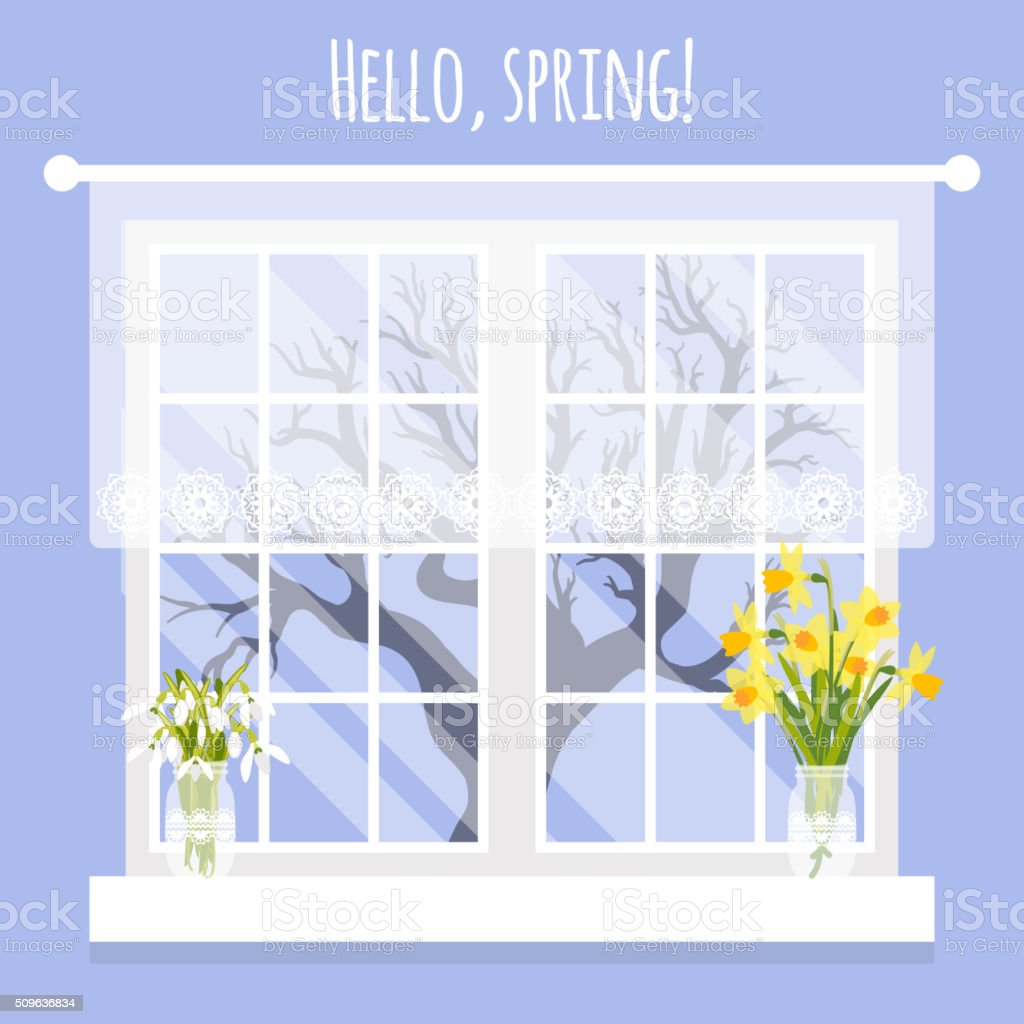 Vector illustration with window and flowers in flat style vector art illustration