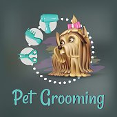 Vector illustration with yorkshire terrier and grooming beauty items