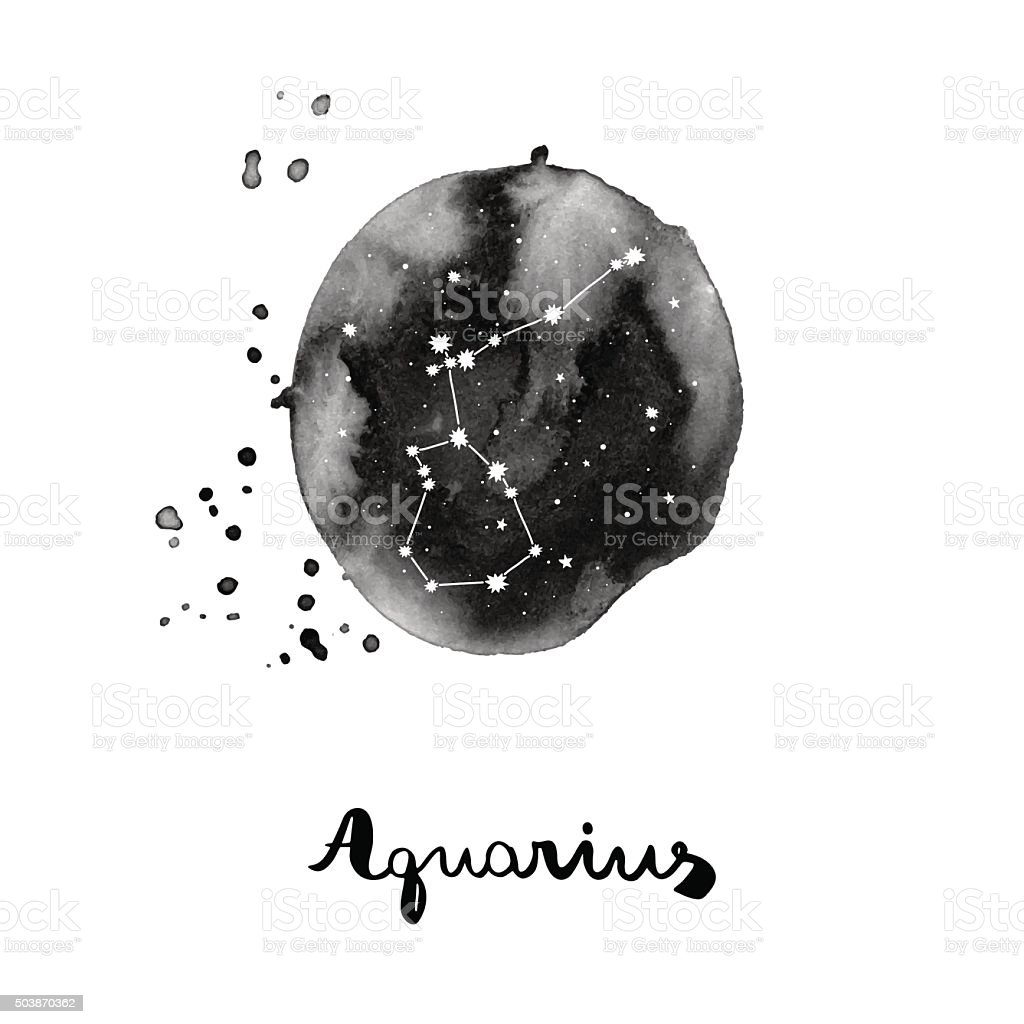 vector illustration with zodiac sign Aquarius vector art illustration