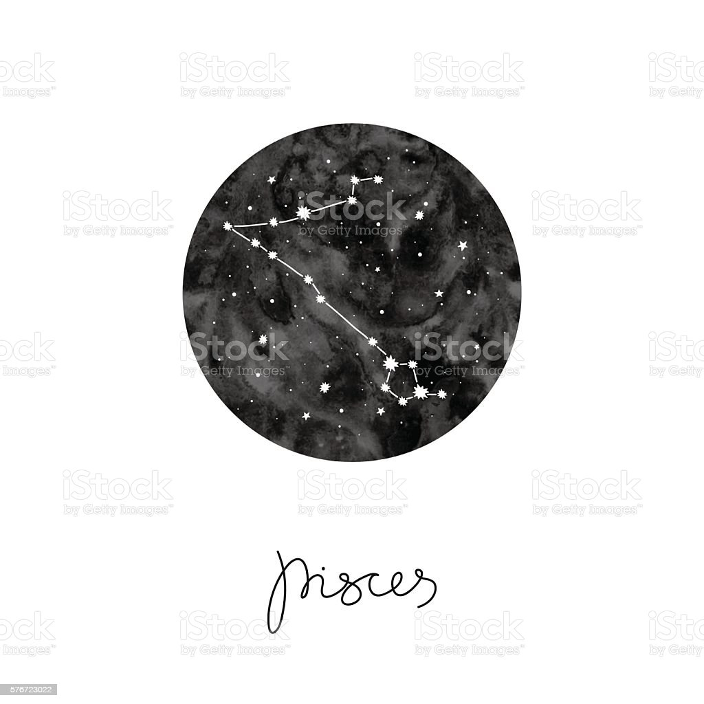 vector illustration with zodiac sign Pisces vector art illustration