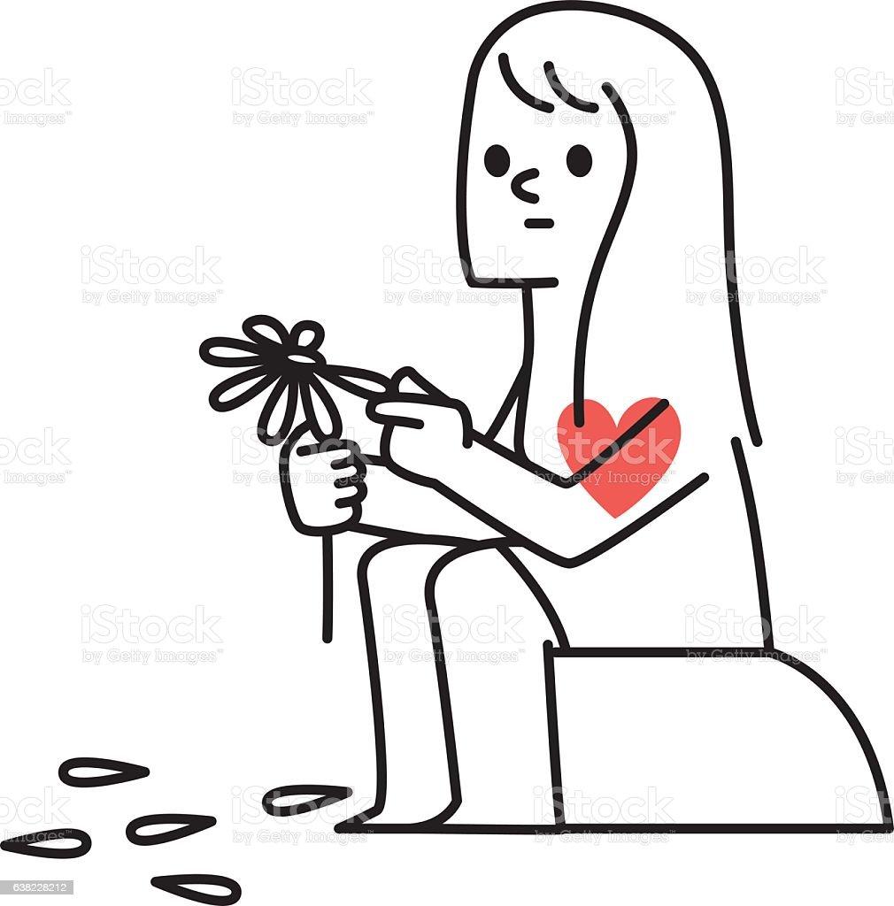 Vector illustration Woman Plucking Petals Off a Daisy vector art illustration