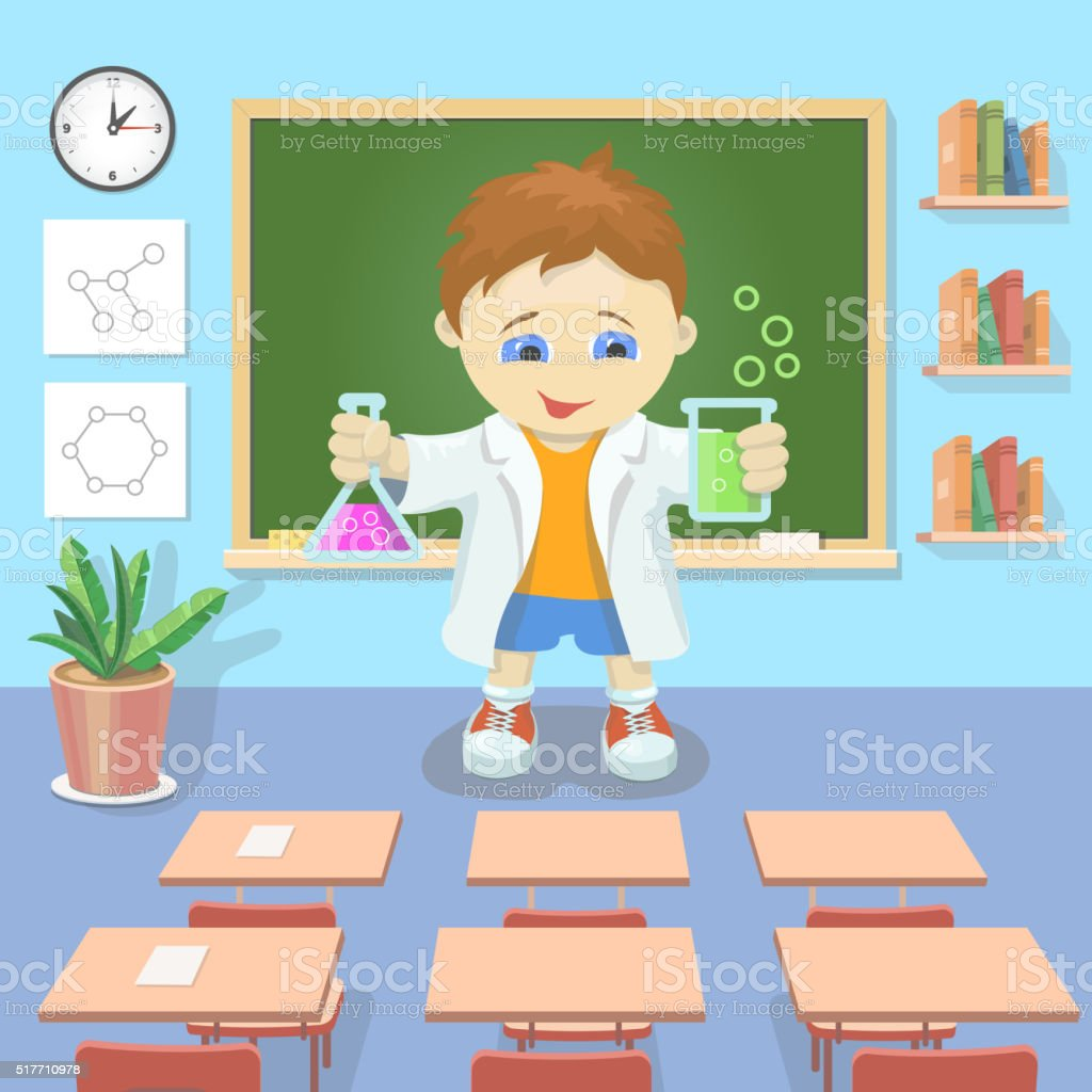 Vector illustration Young boy  studying chemistry in  classroom vector vector art illustration