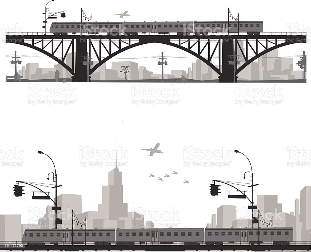 Vector illustration.City scape silhouette. Train on a bridge . vector art illustration