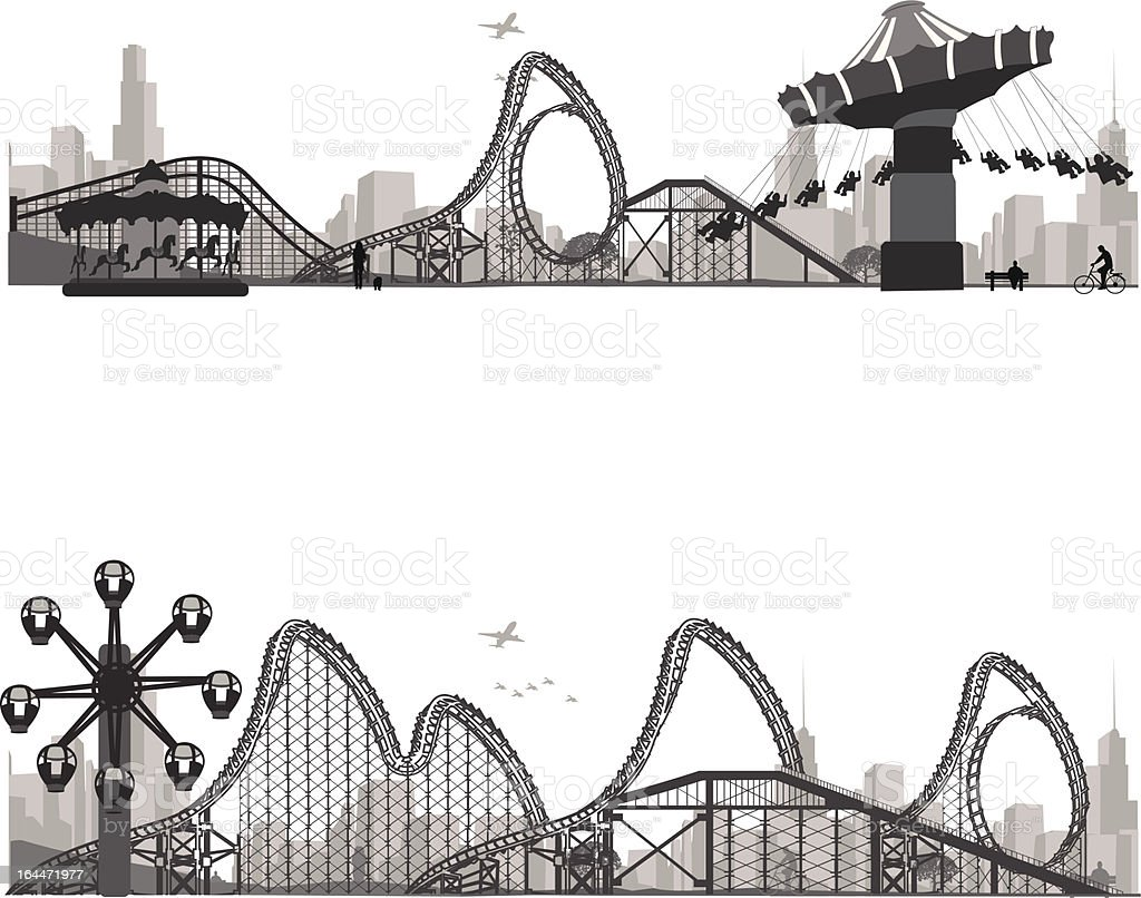 Vector illustration.Roller Coaster Silhouette .Carousel vector art illustration