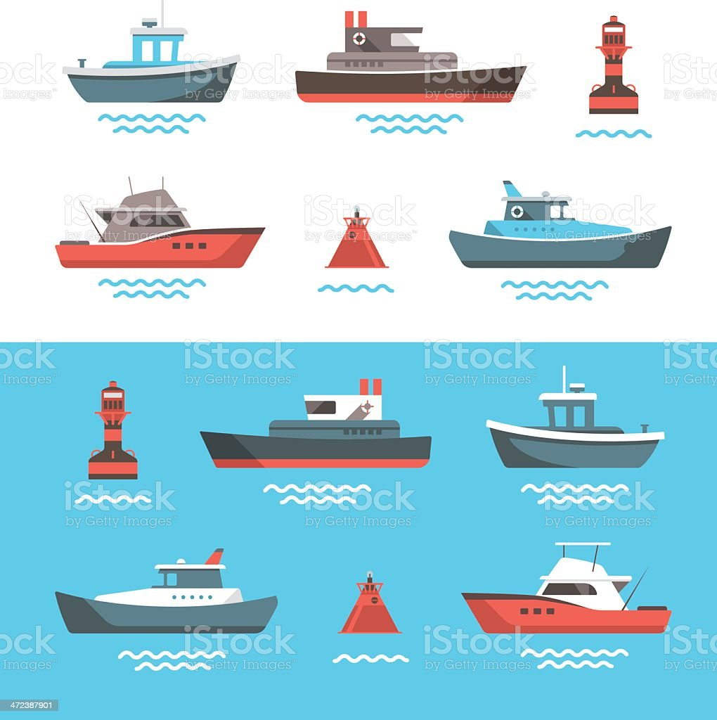 Vector illustrations of boats vector art illustration