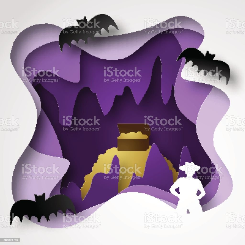 Vector illustrations of cave paper cut shadow box with gold, stalactites and stalagmites, traveler and bats vector art illustration