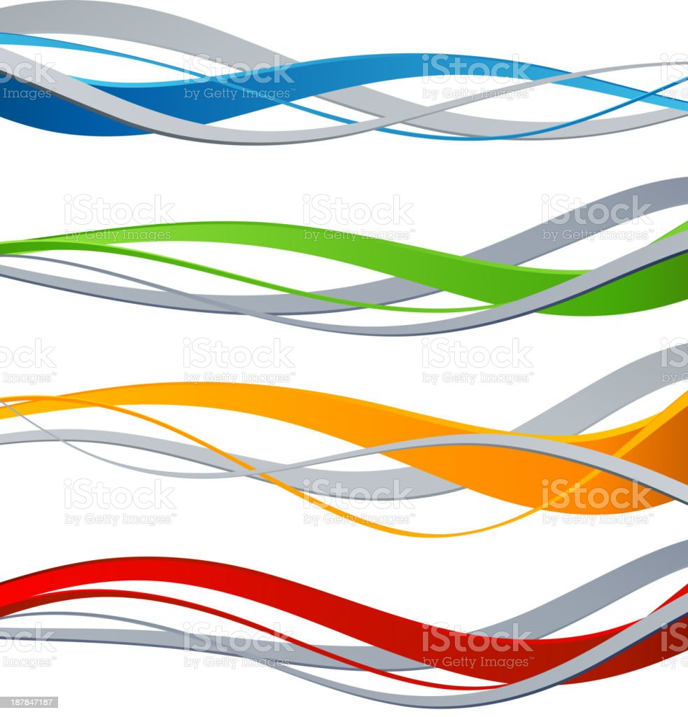 Vector illustrations of color wave design elements vector art illustration