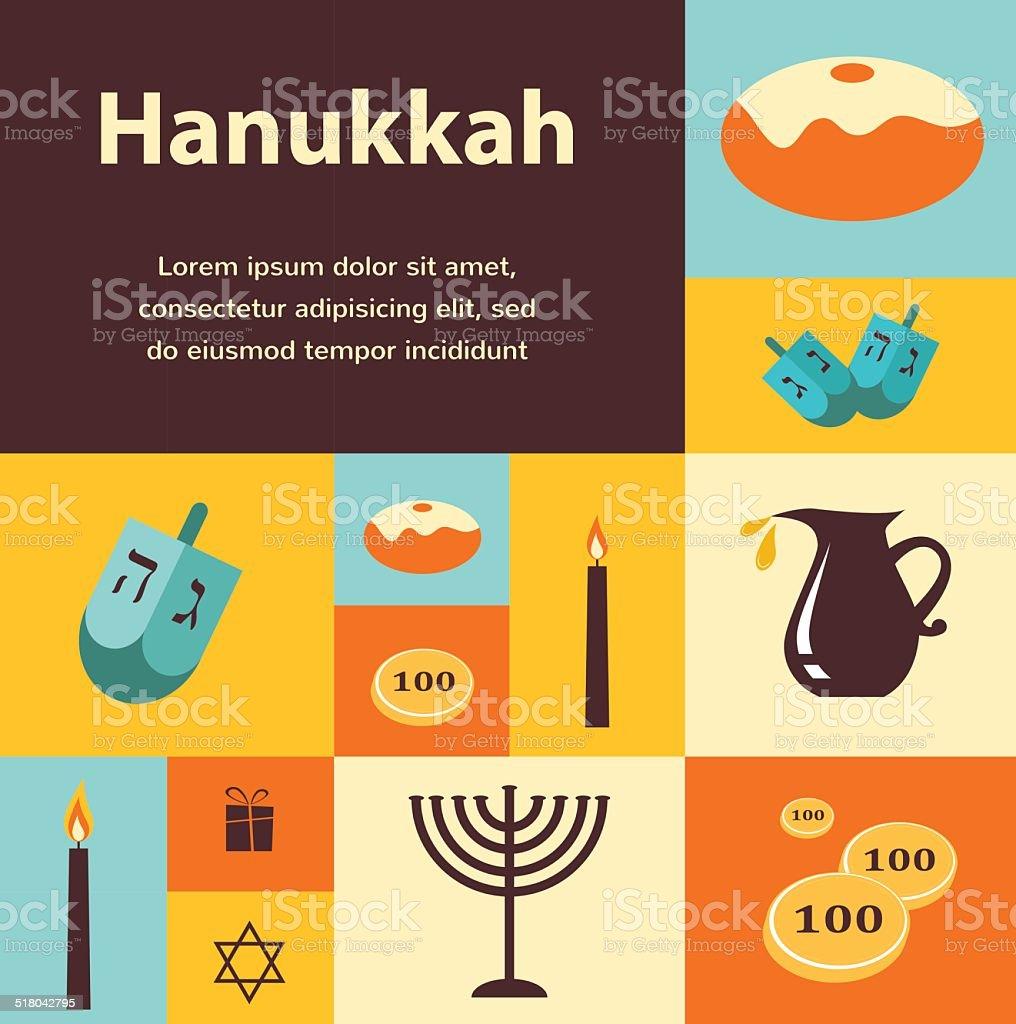 Vector illustrations of famous symbols for the Jewish Holiday Hanukkah vector art illustration