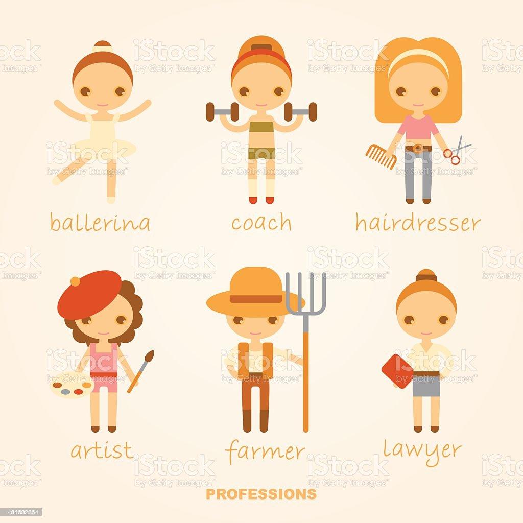 vector illustrations of professions vector art illustration