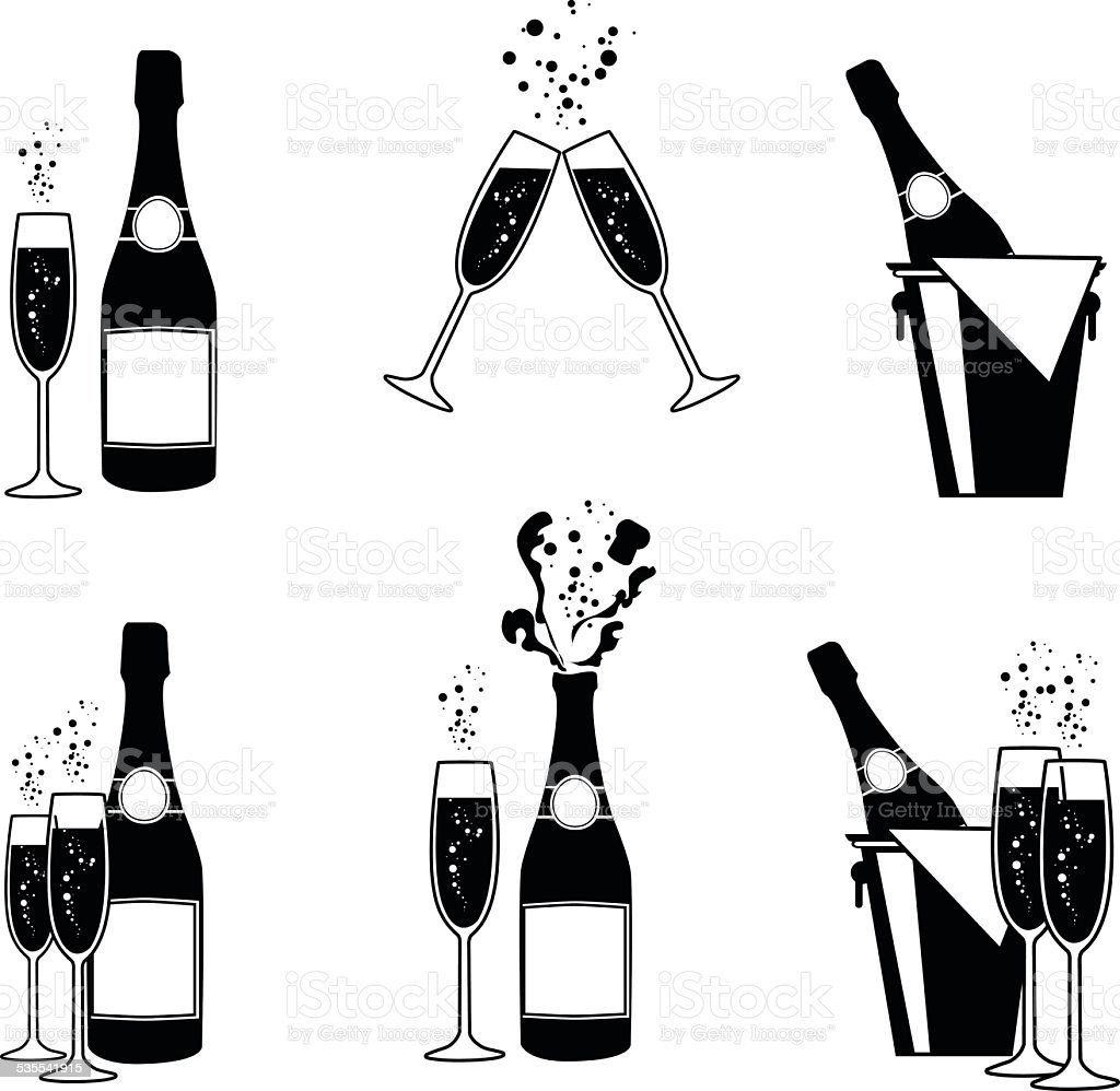 vector illustrations of several champagne icons vector art illustration