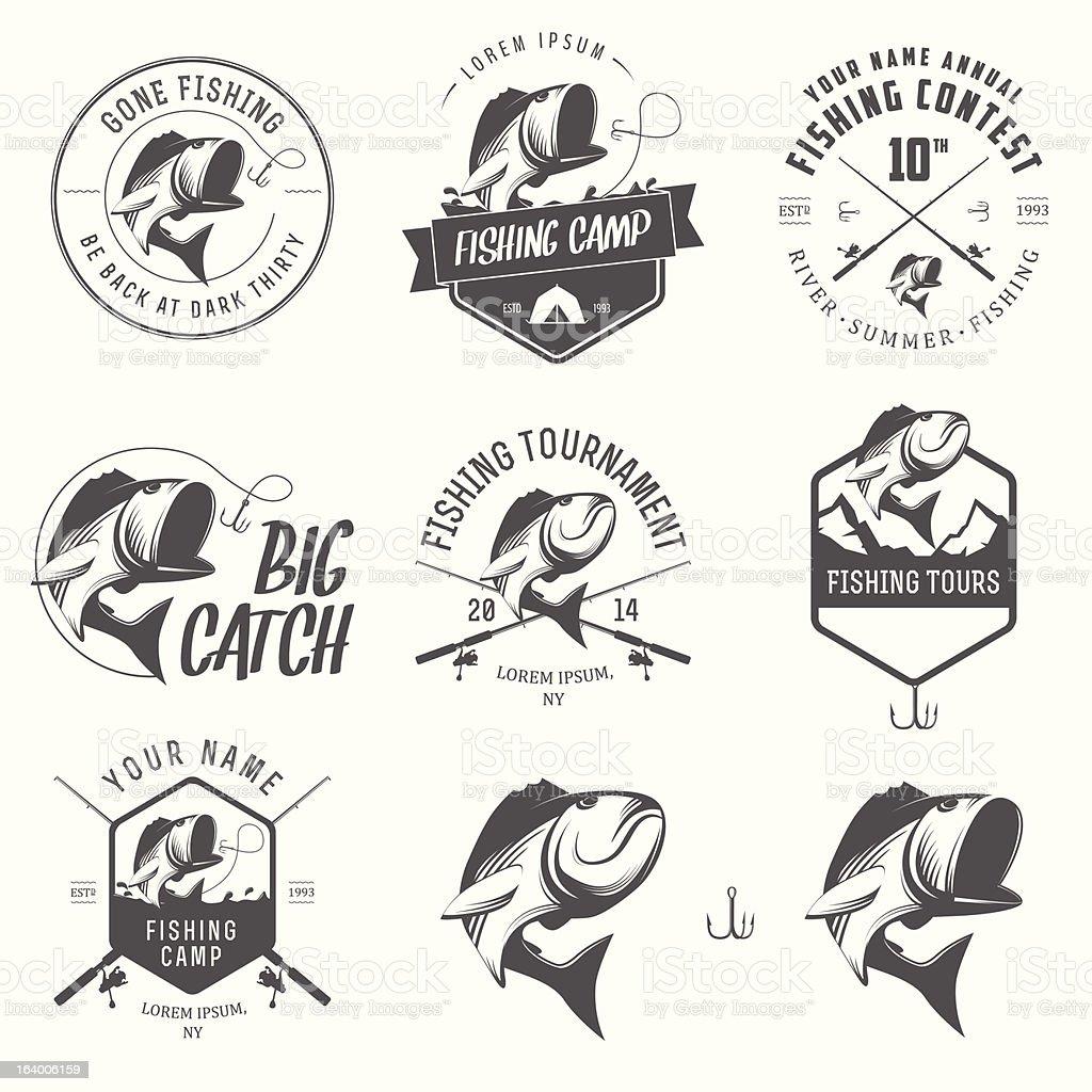 Vector illustrations of vintage fishing labels vector art illustration