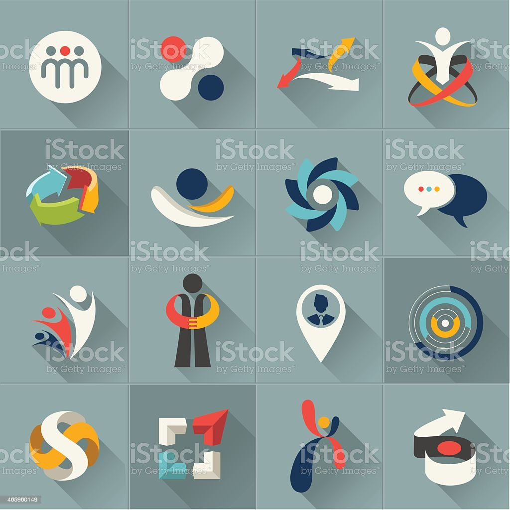 Vector illustrations of web icons and logos in gray squares vector art illustration