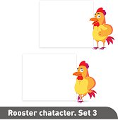 Vector illustrations set includes two standing poses of rooster character