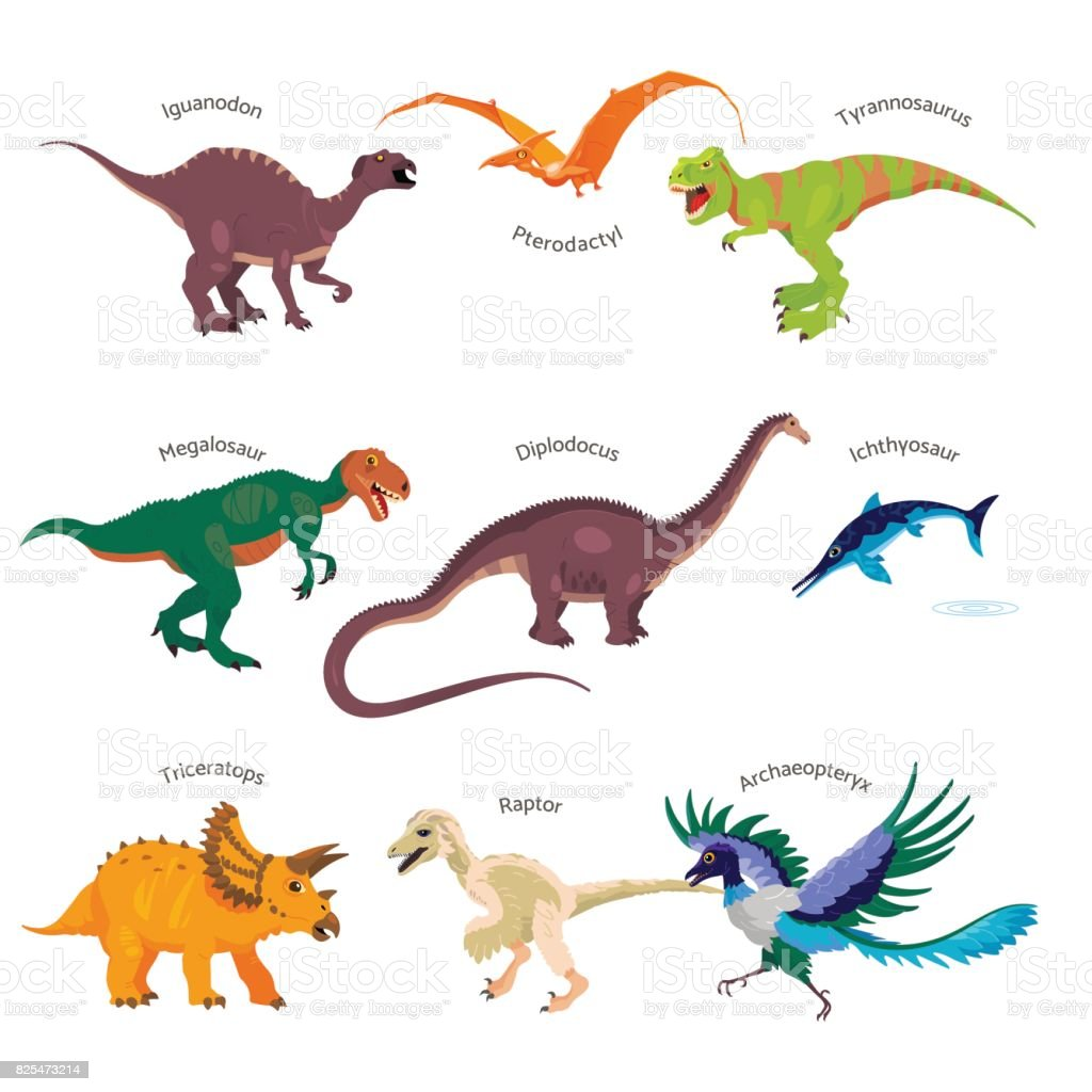 Vector illustrations set of dinosaurs in cartoon style. Jurassic park concept: realistic dinosaurs isolated on white background. vector art illustration