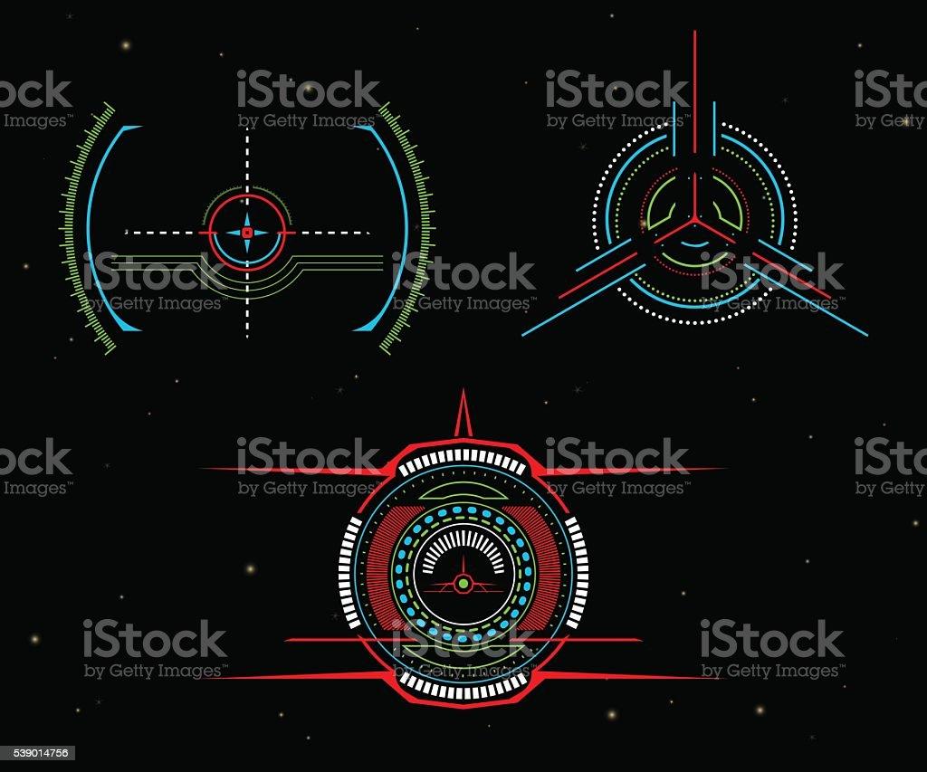 Vector illustrations. Sights spacecraft. Interactive crosshair vector art illustration