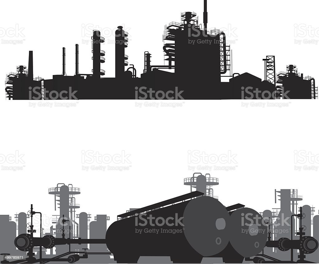 Vector illustration.Silhouette of an oil refinery vector art illustration
