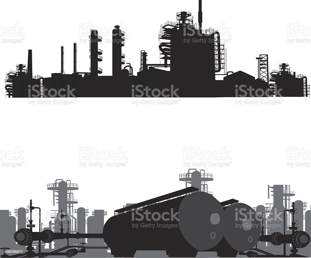 Vector illustration.Silhouette of an oil refinery vector art illustration