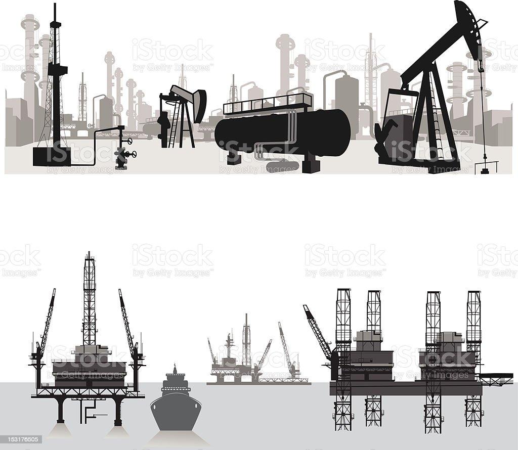 Vector illustration.Silhouettes of an oil refinery vector art illustration