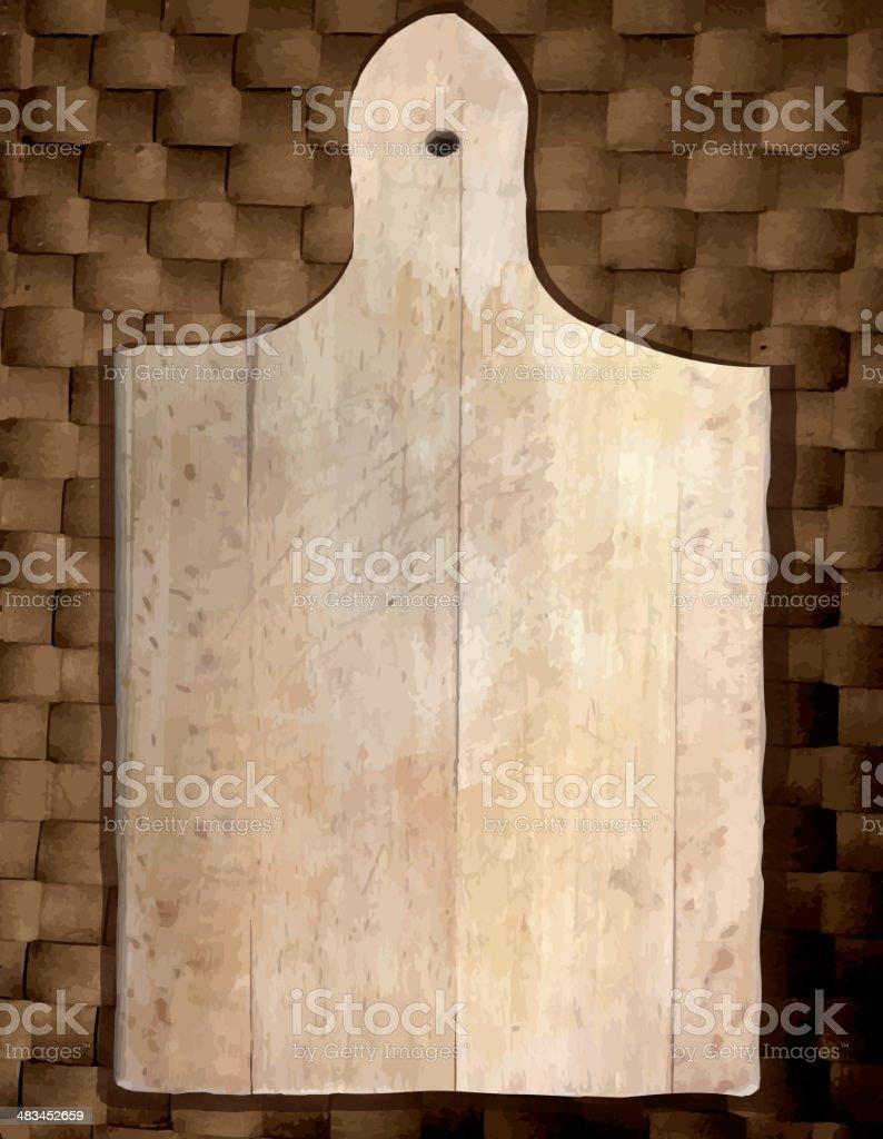 Vector illustraton simple Worn cutting board on a weave background vector art illustration