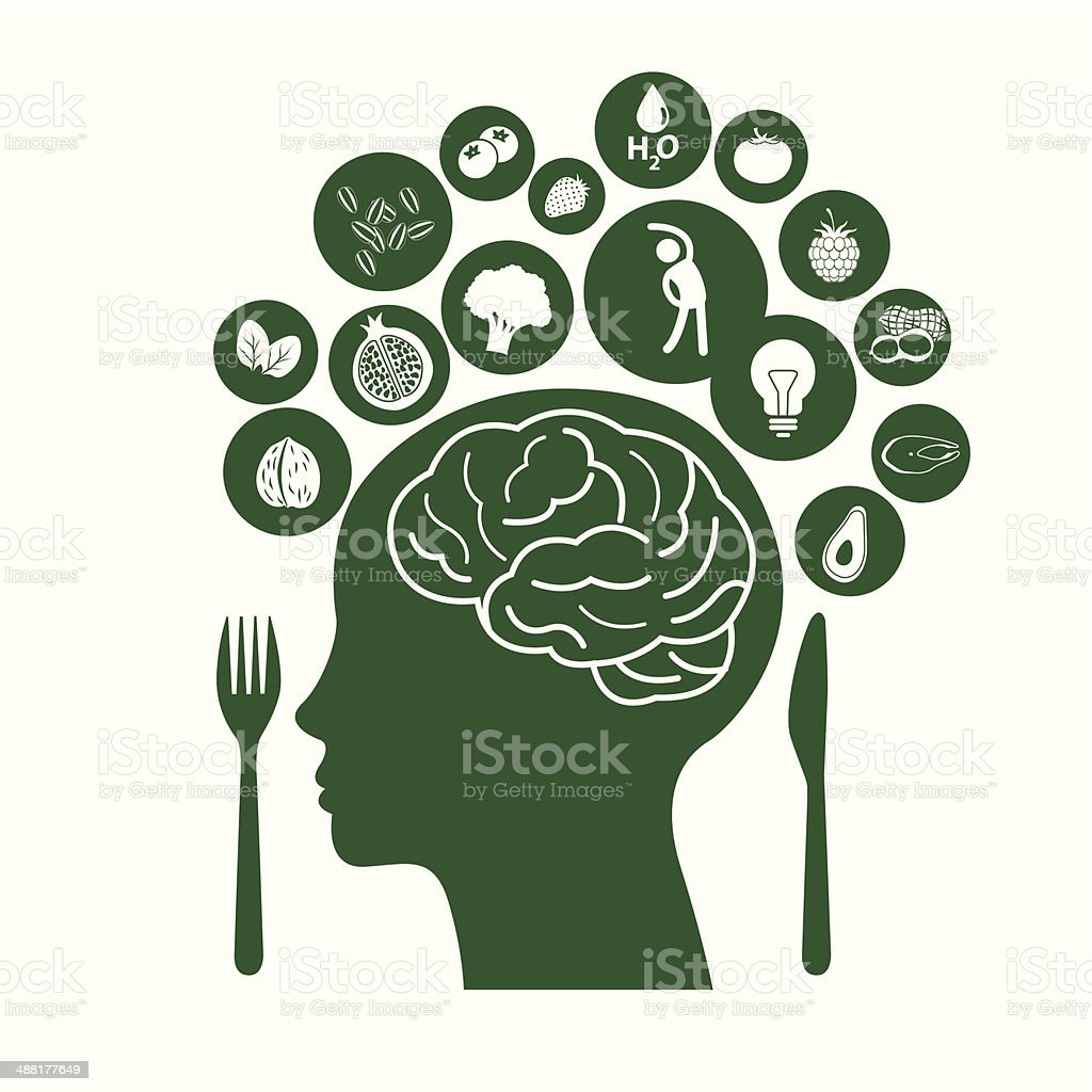 Vector Illustrator symbolizes of Foods for Healthy Brain vector art illustration