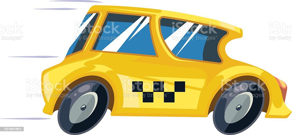 vector ilustration of yellow taxi car vector art illustration
