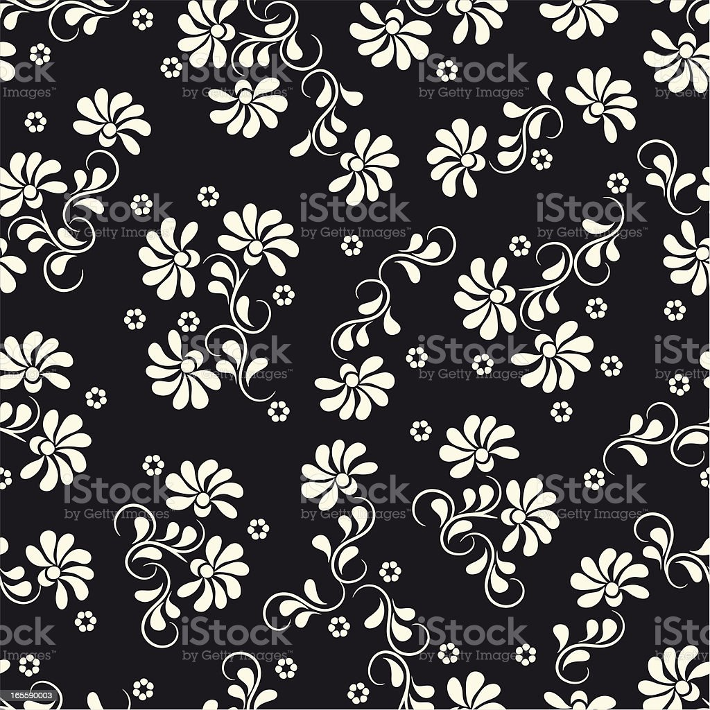 Vector image black background and a white floral pattern royalty-free stock vector art