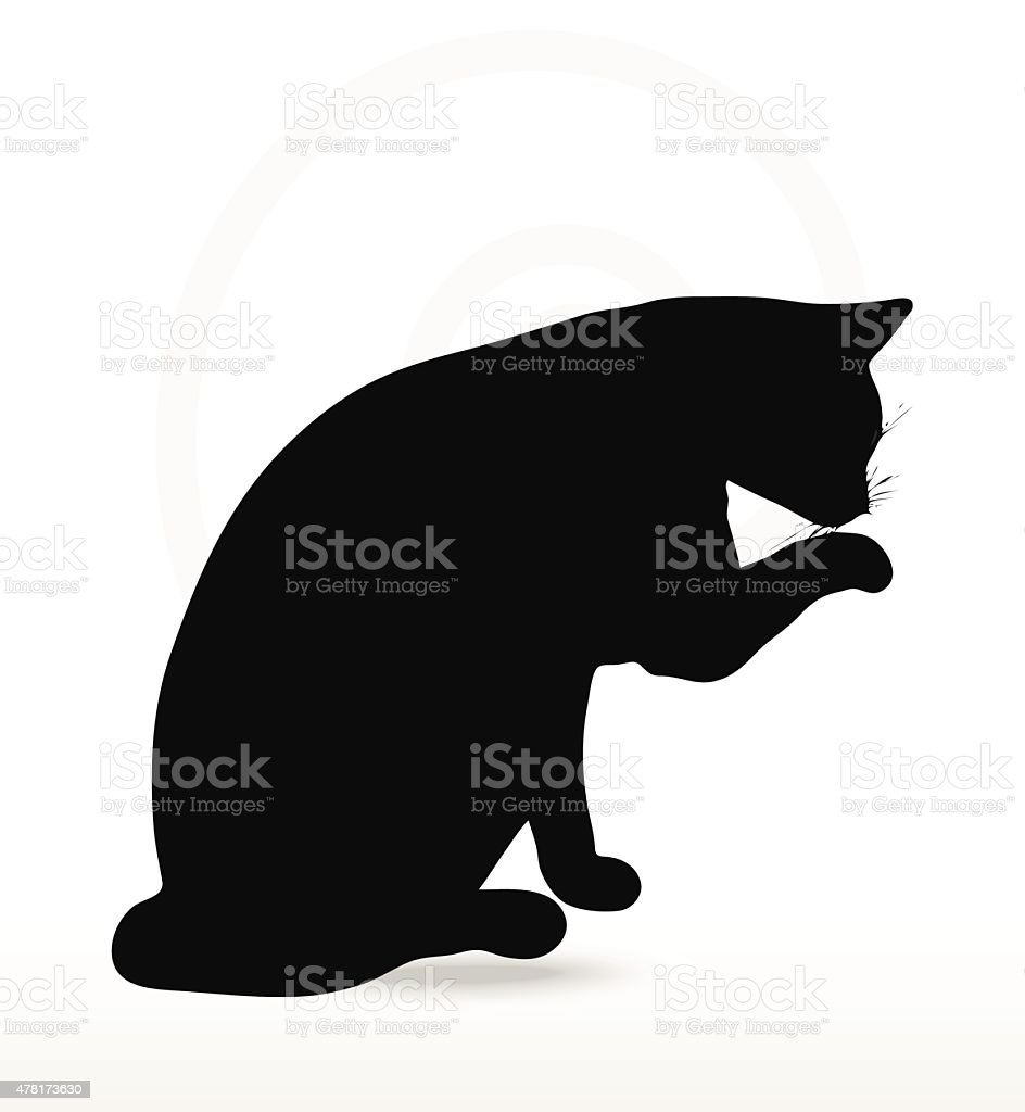 Vector Image - cat silhouette in Cleaning Paw pose vector art illustration