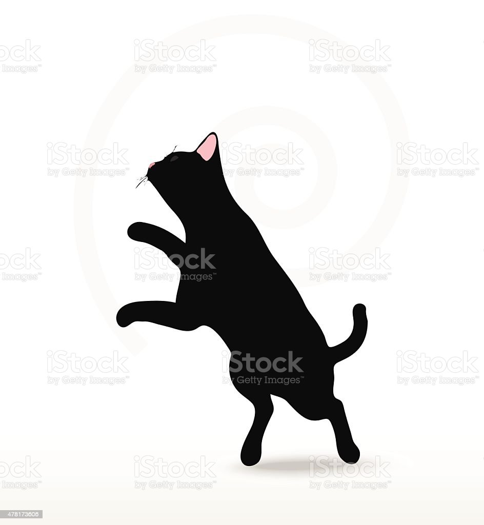 Vector Image - cat silhouette in Jumping pose vector art illustration