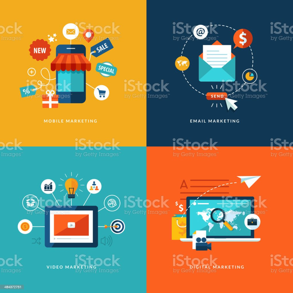 Flat design concept icons for web and mobile services vector art illustration